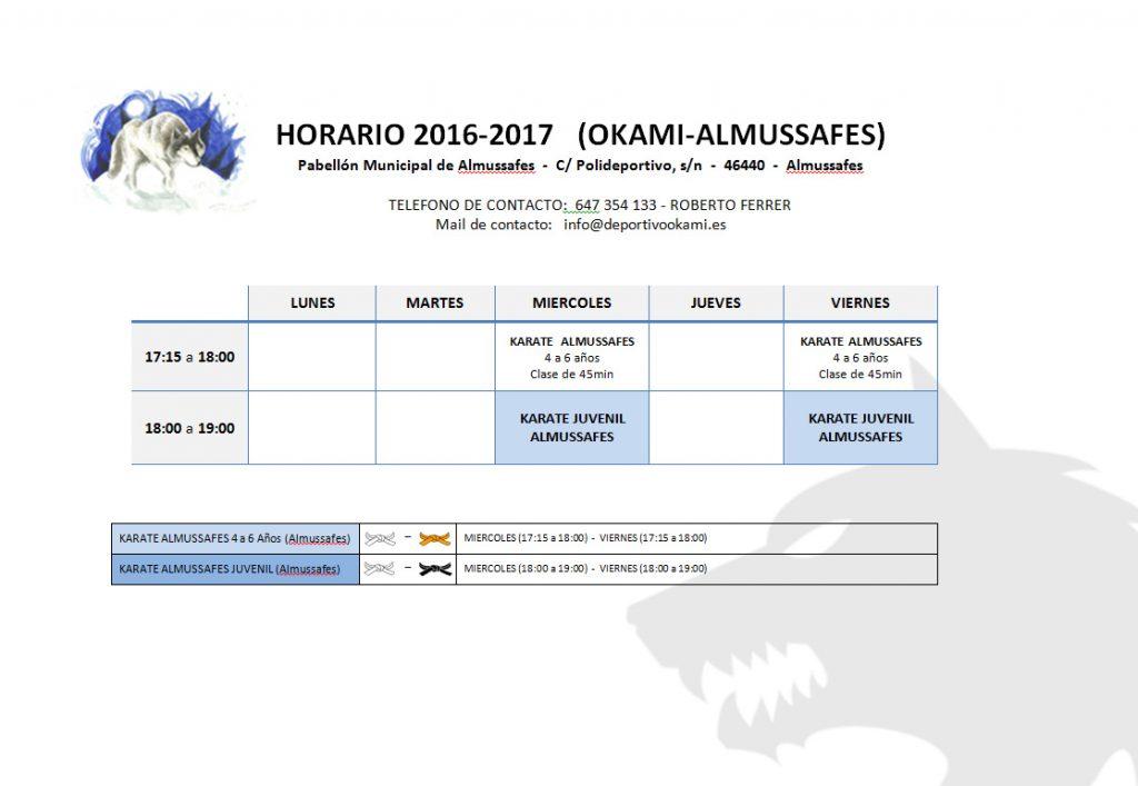 Horario 2016- 2017 ALMUSSAFES