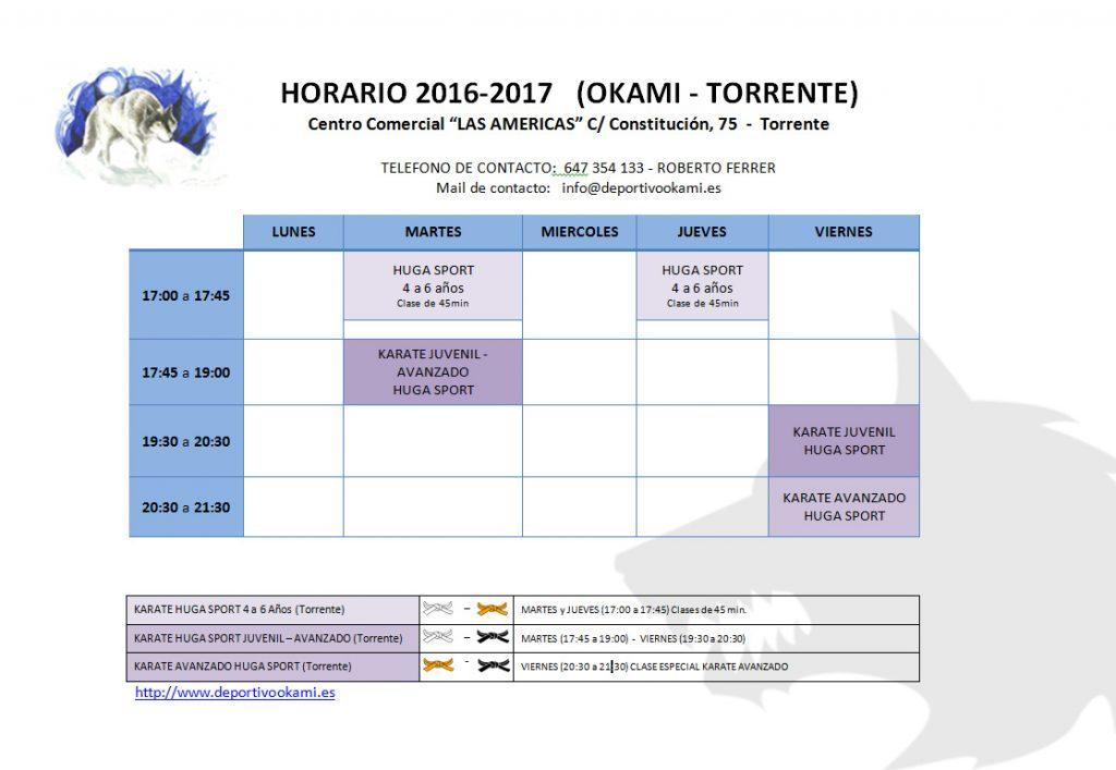Horario 2016- 2017 TORRENTE